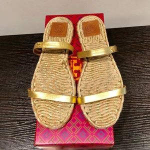 Gold Tory Burch Two-Band Flat Espadrille Slide
